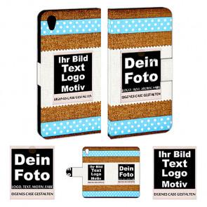 Leder-Tasche für One Plus X mit Foto und Text zum selbst gestalten.