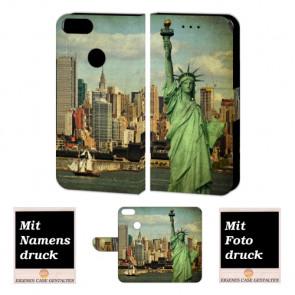 One Plus 5 Handy Hülle Tasche mit Freiheitsstatue + Foto + Text Druck Etui