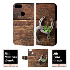 One Plus 5 Handy Hülle Tasche mit Holz - Hufeisen + Foto Druck