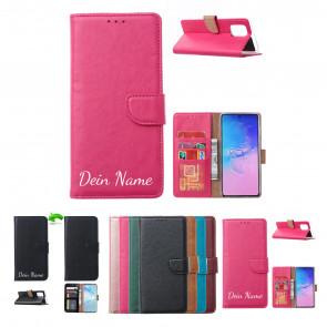 Samsung Galaxy A71 Schutzhülle Handy Tasche mit Namensdruck in Rosa