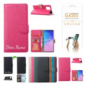Samsung Galaxy S21 Plus Schutzhülle mit Namensdruck und Displayschutz Glas Rosa