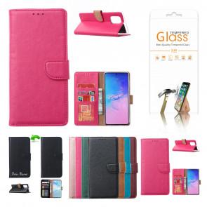 Handy Tasche für iPhone 12 Pro Max mit Displayschutz Glas Rosa