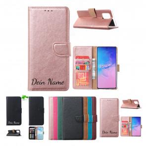 Samsung Galaxy A71 Schutzhülle Handy Tasche mit Namensdruck in Rosa Gold