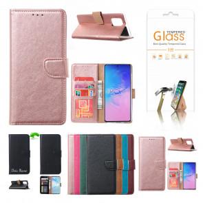 Schutzhülle mit Displayschutz Glas in Rosa Gold für Samsung Galaxy A41