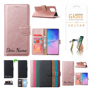 Huawei P Smart (2021) Schutzhülle mit Namensdruck und Displayschutz Glas Rosa Gold