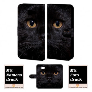 Individuelle Handyhülle für Samsung Galaxy C7 mit Schwarz Katze Fotodruck