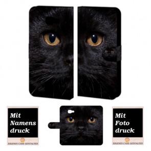 Samsung Galaxy A3 2016 Handy Tasche selbst gestalten mit eigenem Foto Schwarz Katze