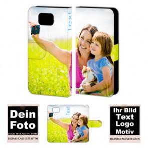 Ledertasche für Samsung Galaxy Alpha mit Foto und Text zum selbst gestalten