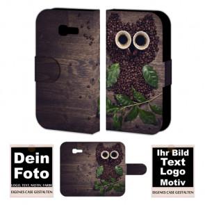 PU-Ledertasche für Samsung Galaxy Fresh S7390 mit Foto und Text Druck