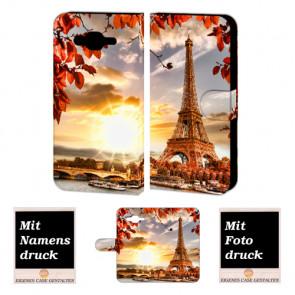 Samsung Galaxy On5 Handy Hülle Tasche mit Eiffelturm Foto Text Druck