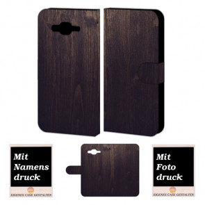 Samsung Galaxy J1 Individuelle Handyhülle mit Holz Optik Fotodruck Etui