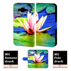 Schutzhülle Tasche für Samsung Galaxy E7 Handy mit Lotosblumen + Fotodruck