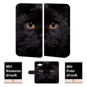 Samsung Galaxy J1 Handyhülle Tasche mit Fotodruck Schwarz Katze