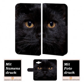 Samsung Galaxy E7 Handyhülle Tasche mit Foto Druck Schwarz Katze