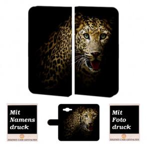 Samsung Galaxy A5 Individuelle Handyhülle Etui mit Fotodruck Leopard Text