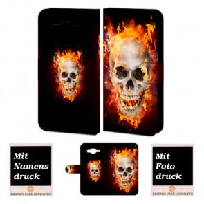 Handy Tasche für Samsung Galaxy J1 mit Totenschädel - Feuer Bilddruck