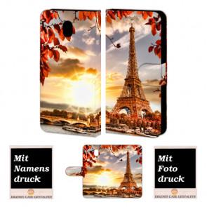 Samsung Galaxy J5 2017 Handy Tasche Hülle mit Eiffelturm Foto Text Druck