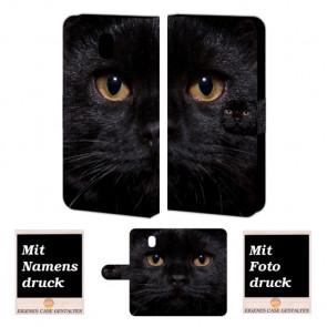 Samsung Galaxy J5 2017 Smartphonehülle Tasche mit Fotodruck Schwarz Katze