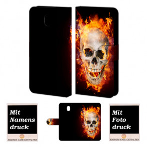 Samsung Galaxy J7 (2017) Handyhülle mit Totenschädel - Feuer Bilddruck