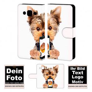Ledertasche für Samsung Galaxy J2 mit Foto und Text zum selbst gestalten