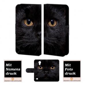 Samsung Galaxy S4 Mini Personalisierte Handyhülle mit Foto selbst gestalten Schwarz Katze