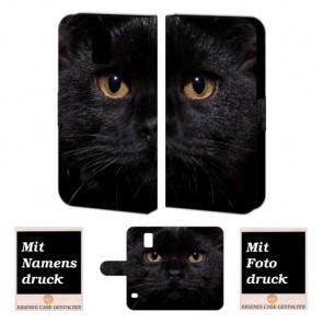 Samsung Galaxy S5 Handyhülle Tasche mit Schwarz Katze + Fotodruck