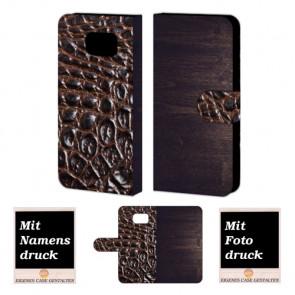 Samsung Galaxy S6 Holz - Croco Optik Handy Tasche Hülle Foto Bild Druck