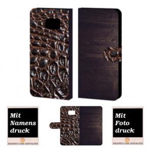 Samsung Galaxy S6 Edge Plus Holz - Croco Optik Handy Tasche Hülle Foto Bild Druck