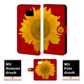 Samsung Galaxy S6 Edge + Handyhülle Tasche mit Sonnenblumen Bilddruck