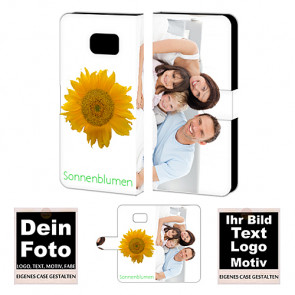 Ledertasche für Samsung Galaxy S6 Edge Plus mit Foto und Text zum selbst gestalten