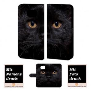 Handyhülle mit Schwarz Katze Fotodruck für Samsung Galaxy S6 Edge Plus