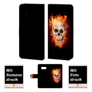 Samsung Galaxy S8 Handyhülle Tasche mit Totenschädel - Feuer + Fotodruck