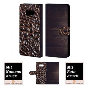 Samsung Galaxy S8 Plus Holz - Croco Optik Handy Tasche Hülle Foto Bild Druck