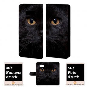 Samsung Galaxy S8 Plus Handyhülle mit Foto Bilddruck Schwarz Katze