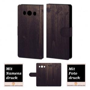Samsung Galaxy J5 (2016) Handy Hülle mit Holz Optik Foto Druck Etui