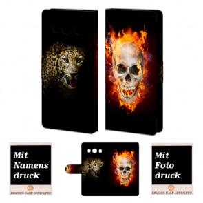 Samsung Galaxy J5 (2016) Totenschädel - Tiger Handy Tasche Hülle Foto Bild Druck