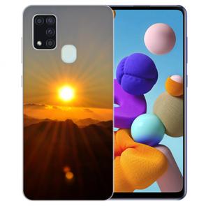 Samsung Galaxy A21s Silikon TPU Hülle mit Bilddruck Sonnenaufgang