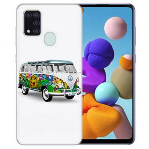 Samsung Galaxy A21s Silikon TPU Hülle mit Bilddruck Hippie Bus