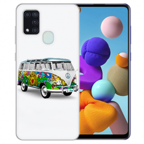 Samsung Galaxy M31 Silikon TPU Hülle mit Bilddruck Hippie Bus
