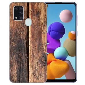 Samsung Galaxy M21 Silikon TPU Hülle mit Bilddruck HolzOptik Etui