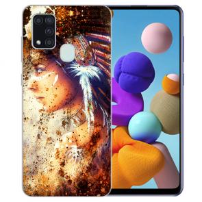 Samsung Galaxy A21s Silikon TPU Hülle mit Bilddruck Indianerin Porträt