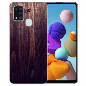 Samsung Galaxy M31 Silikon TPU Hülle mit Bilddruck HolzOptik Dunkelbraun