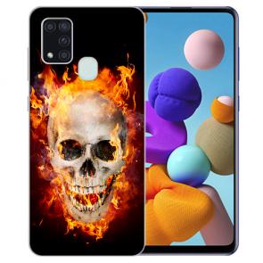 Samsung Galaxy A21s Silikon TPU Hülle mit Bilddruck Totenschädel Feuer