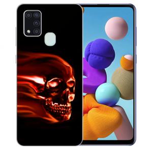 Samsung Galaxy A21s Silikon TPU Hülle mit Bilddruck Totenschädel
