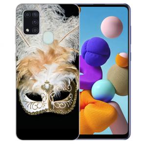 Samsung Galaxy A21s Silikon TPU Hülle mit Bilddruck Venedig Maske