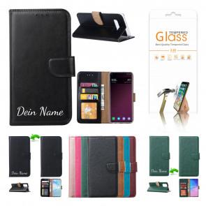 Schutzhülle mit Namensdruck und Displayschutz Glas Schwarz für Samsung Galaxy A41