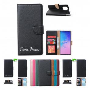 Samsung Galaxy A71 Schutzhülle Handy Tasche mit Namensdruck in Schwarz