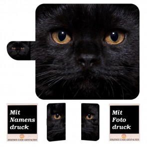 Samsung Galaxy Note 10 Plus Handy Hülle mit Bilddruck Schwarz Katze