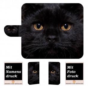 Schutzhülle Handy Tasche mit Bilddruck Schwarz Katze für Nokia 8.1
