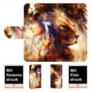 Nokia 3.1 Handy Tasche mit Indianer - Löwe - Gemälde + Fotodruck
